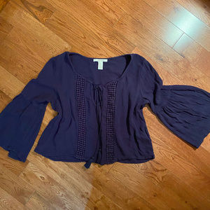 2 / $20 Forever 21 blue boho top ,wide 3/4 sleeves